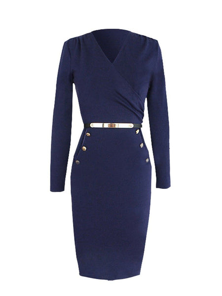 Ruched V-neck Belted Long Sleeve Bodycon Dress