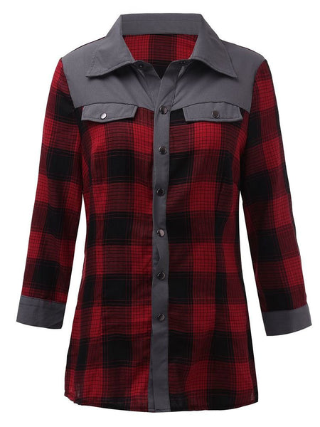 Leisure Women Patchwork Plaid Single Breasted Turn-Down Collar Blouse
