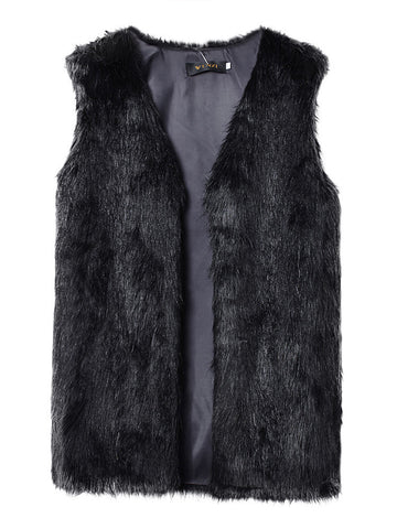 Casual Faux Fur Sleeveless Medium Long Women Vest Jacket Outwear