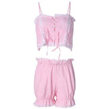 Women Sexy Lace Spaghetti Strap Nightdress Set Hollow Breathable Shorts Sleepwear