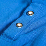 Mens Cotton Stand Collar Polo Shirt Summer Embroidery Button Short Sleeves T-shirt