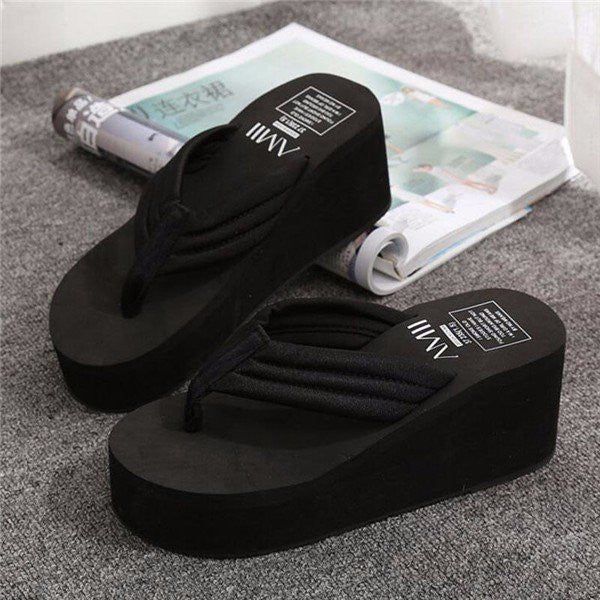 08374bf42fcd Pure Color Letter Slip On Clip Toe Platform Flip Flops Slippers –  shechoic.com