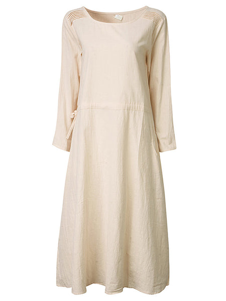 Vintage Long Sleeve Pure Color Pocket Vintage Mid-Long Dress