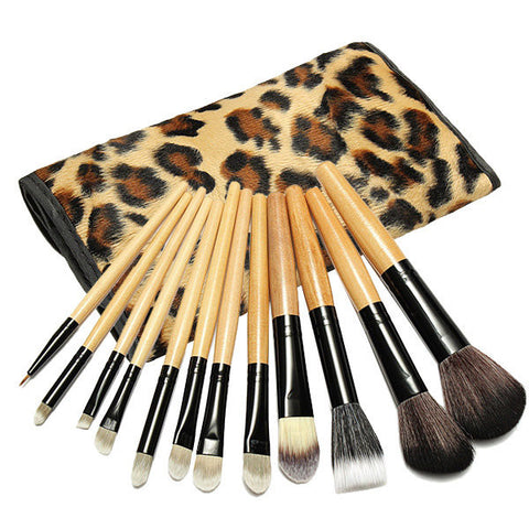 12 Pcs Professional Makeup Brushes Set Cosmetic Tool With Leopard Bag