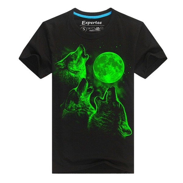 Men's Youthful Cool Unique 3D Printing Noctilucent Wolf Glow In Dark Black Cotton T-shirt
