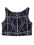 Women Geometric Printed O Neck Crop Top Slim Tank Top