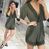 Womens Sexy V Neck Lace Mini Playsuit Celeb Party Evening Romper Shorts Jumpsuit