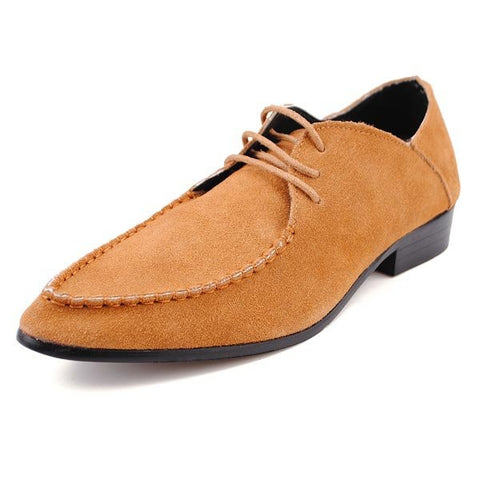 Men Leather Pure Color Pointed Toe Lace Up Flat Formal Business Shoes