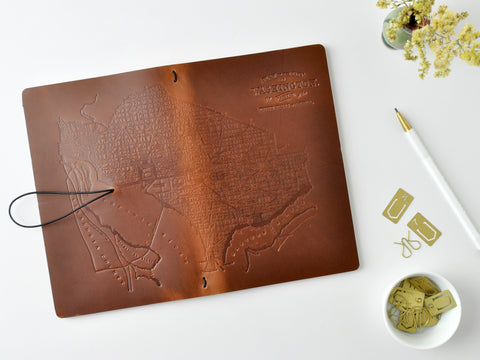 Antique Map of Washington DC Refillable Leather Journal