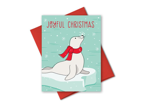Joyful Christmas Seal Holiday Cards Box of 8