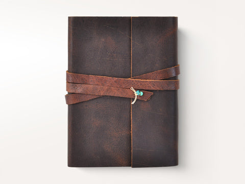 Personalized Santa Fe Leather Wrap Journal