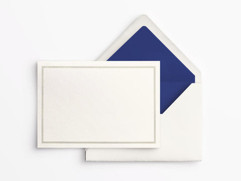 Crane & Co Folded Notes - Ecru with Regent Blue Triple Hairline