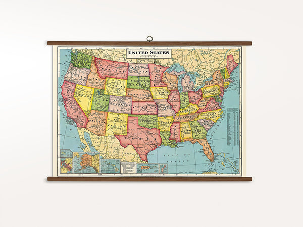 Cavallini Vintage School Chart - United States Map