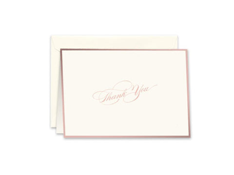 William Arthur Rose Gold Ecru Bordered Thank You Note Box of 10