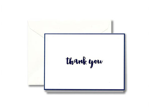 William Arthur Indigo Bordered Thank You Note Box of 10