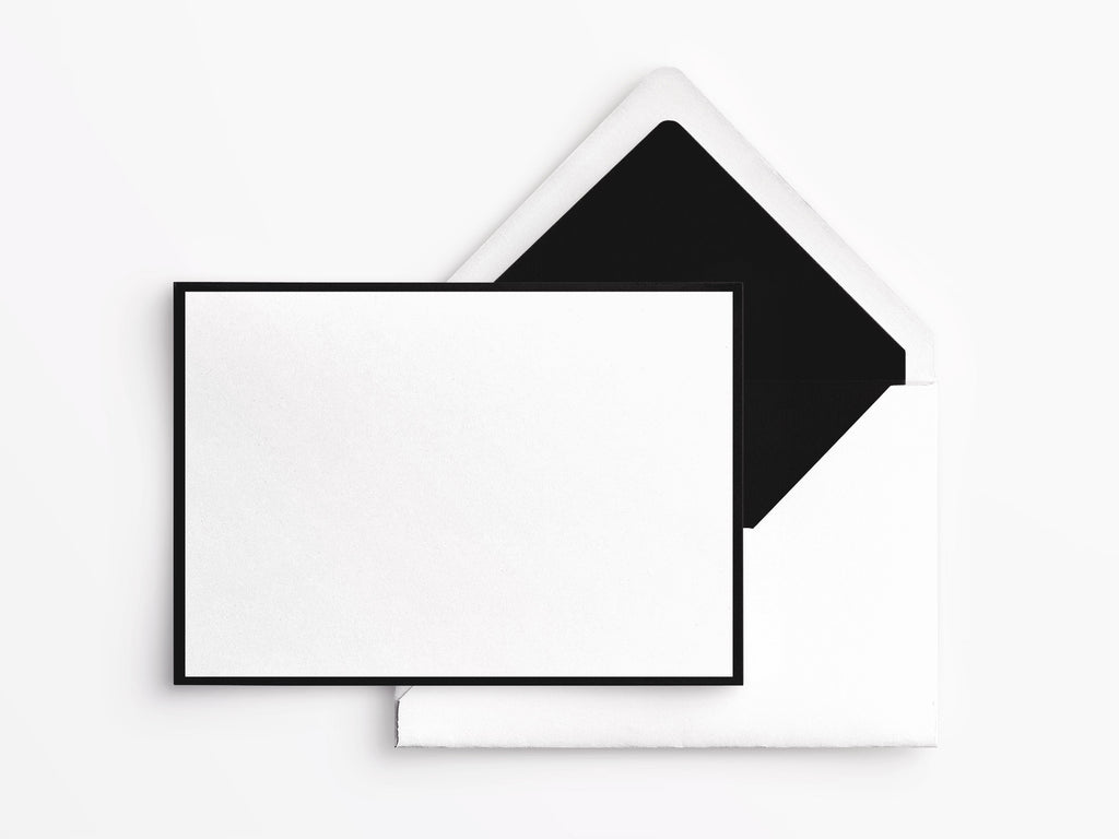 Crane & Co Correspondence Cards - White with Black Border