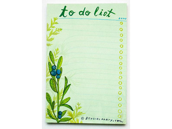 Blueberry To Do List Pad