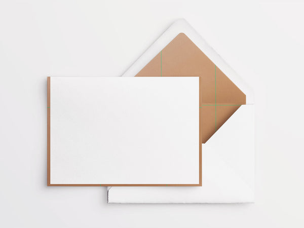 Crane & Co Folded Notes - White with Copper Border