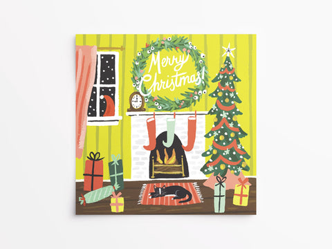 Festive Fireplace Holiday Cards Box of 8