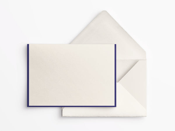 Crane & Co Folded Notes - Ecru with Regent Blue Border