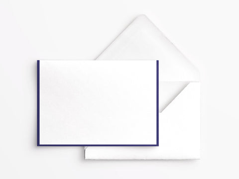 Crane & Co Folded Notes - White with Regent Blue Border