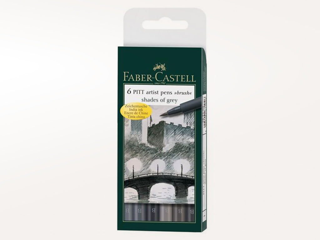 Faber Castell Pitt Artist Pen Wallet - 6 Shades of Grey Assorted