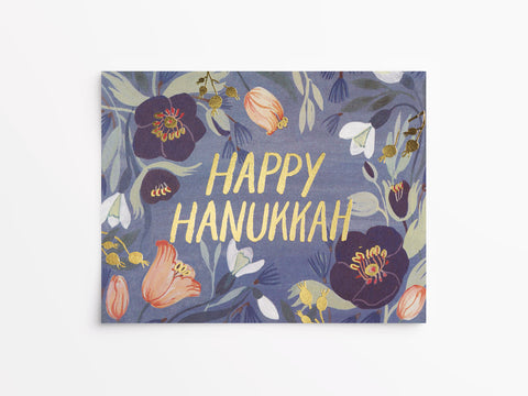Hanukkah Flowers Foil Holiday Cards Box of 8