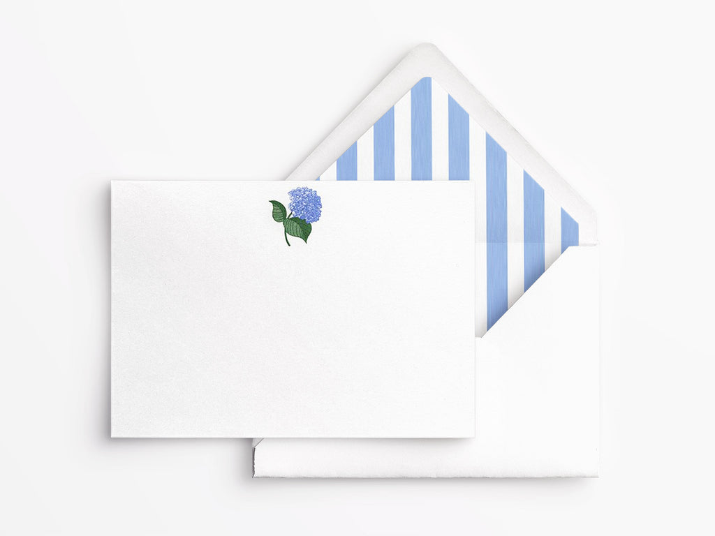Crane & Co Boxed Flat Correspondence Cards - Engraved Blue Hydrangea
