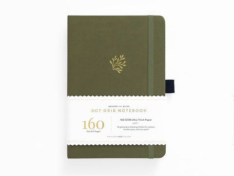 Archer & Olive Dot Grid Journal - Green Leaf
