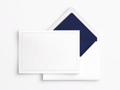 Crane & Co Folded Notes - White with Navy Triple Hairline