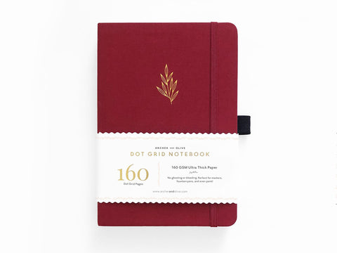 Archer & Olive Dot Grid Journal - Red Leaf