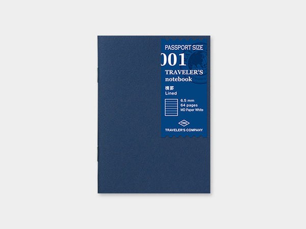 001 Lined Refill TRAVELER'S Notebook - Passport Size