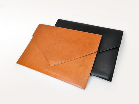 Sleek Bicolor Italian Leather Document Envelope A4