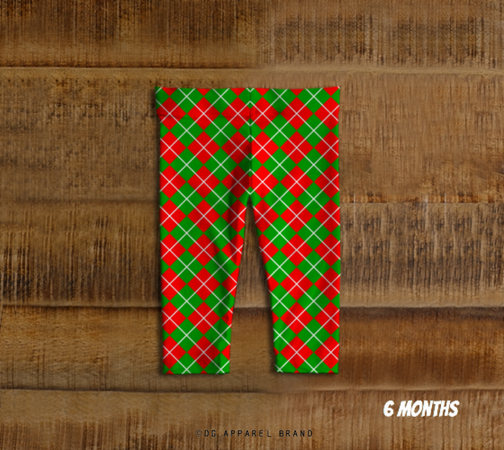 Red and Green Argyle Children's Leggings -  Baby leggings | DG Apparel Brand