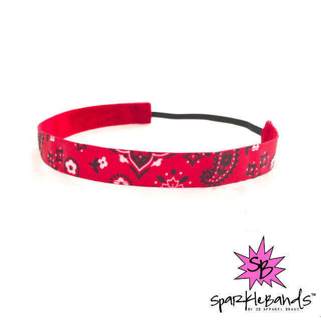 Red Bandana Headband -  Non-Slip Headband | DG Apparel Brand
