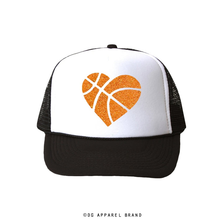 Basketball Glitter Heart Trucker Hat -  Trucker Hat | DG Apparel Brand