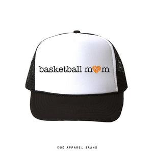 Basketball Mom Glitter Heart Trucker Hat -  Trucker Hat | DG Apparel Brand
