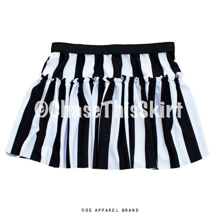 Black and White Striped Running Skirt -  Running Skirt | DG Apparel Brand