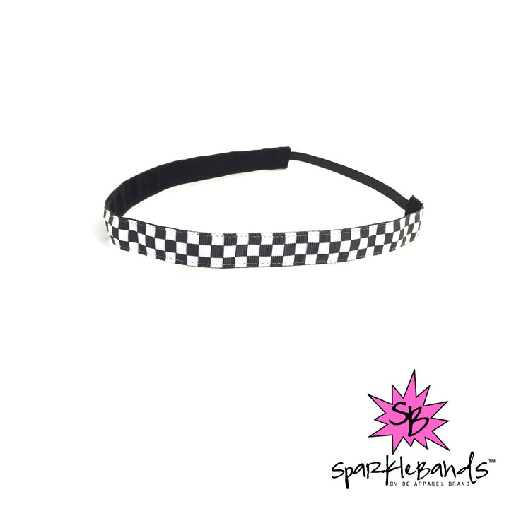 Black & White Checkered Headband -  Non-Slip Headband | DG Apparel Brand