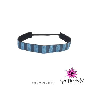Blue Glitter Striped Headband -  Non-Slip Headband | DG Apparel Brand
