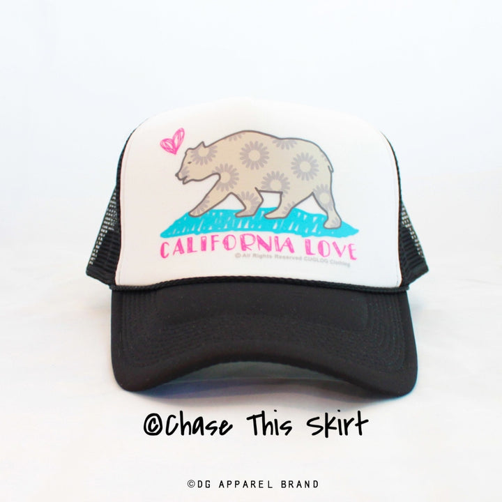 California Love Trucker Hat in Black -  Trucker Hat | DG Apparel Brand