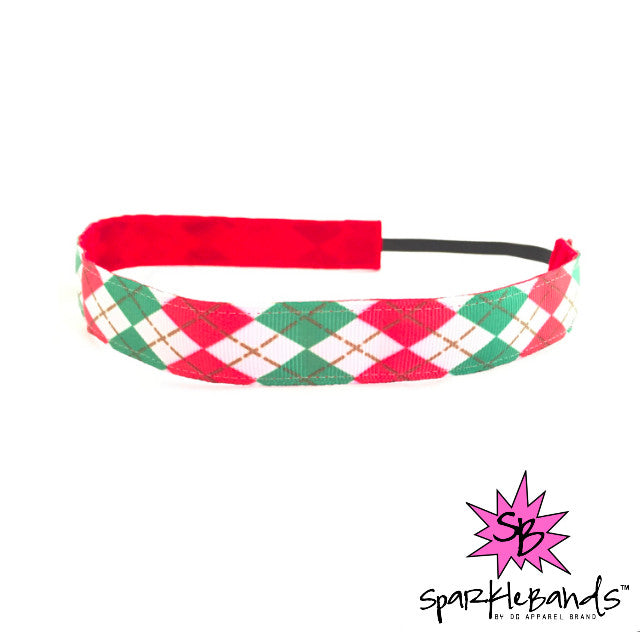 Red & Green Argyle Headband -  Non-Slip Headband | DG Apparel Brand