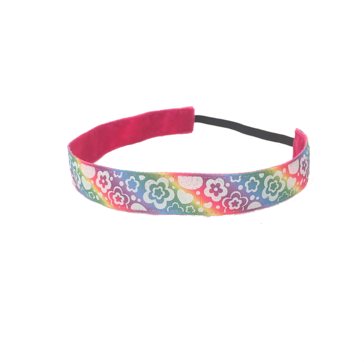 Rainbow Glitter Flowers and Hearts Headband -  Non-Slip Headband | DG Apparel Brand