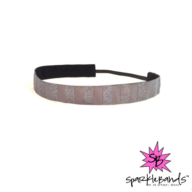 Gray Glitter Striped Headband -  Non-Slip Headband | DG Apparel Brand