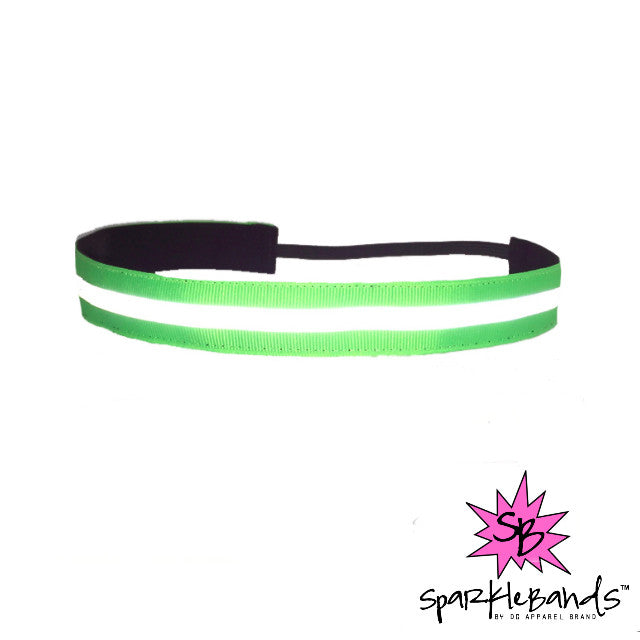 Green Reflective Headband -  Non-Slip Headband | DG Apparel Brand