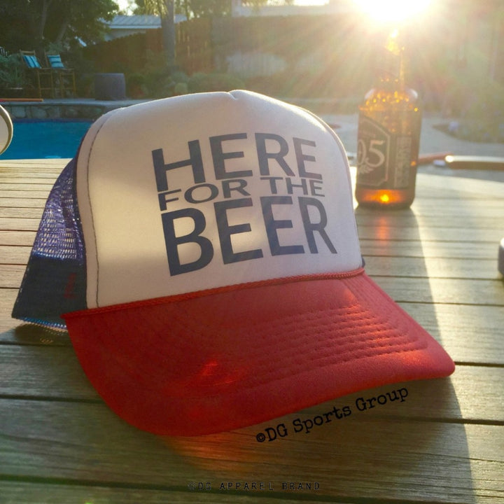 Here For The Beer Trucker Hat -  Trucker Hat | DG Apparel Brand