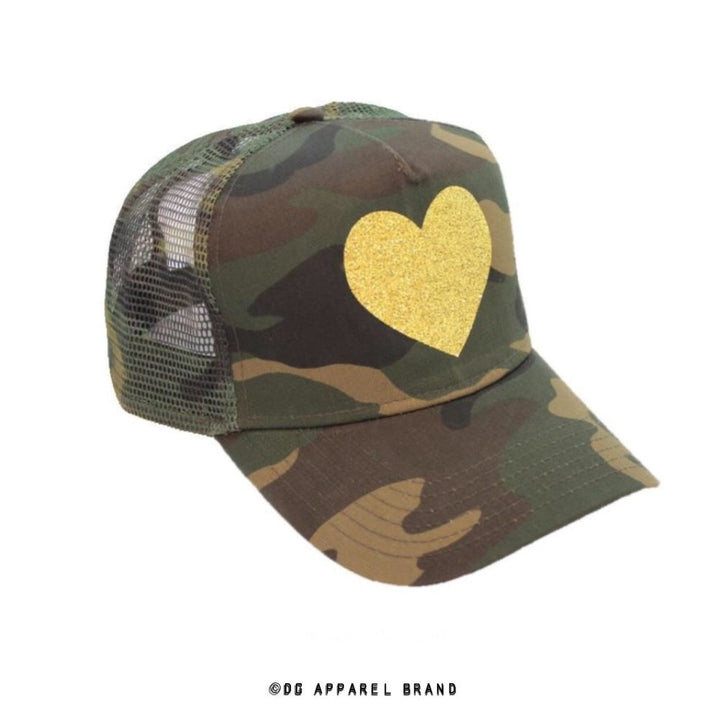 Sparkle Heart Camo Trucker Hat