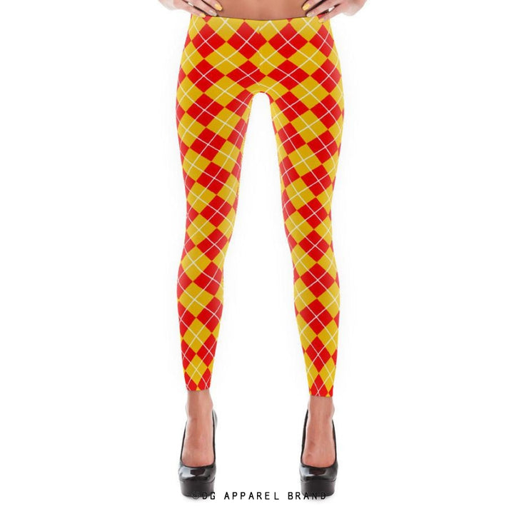 Red and Gold Argyle Leggings -  leggings | DG Apparel Brand