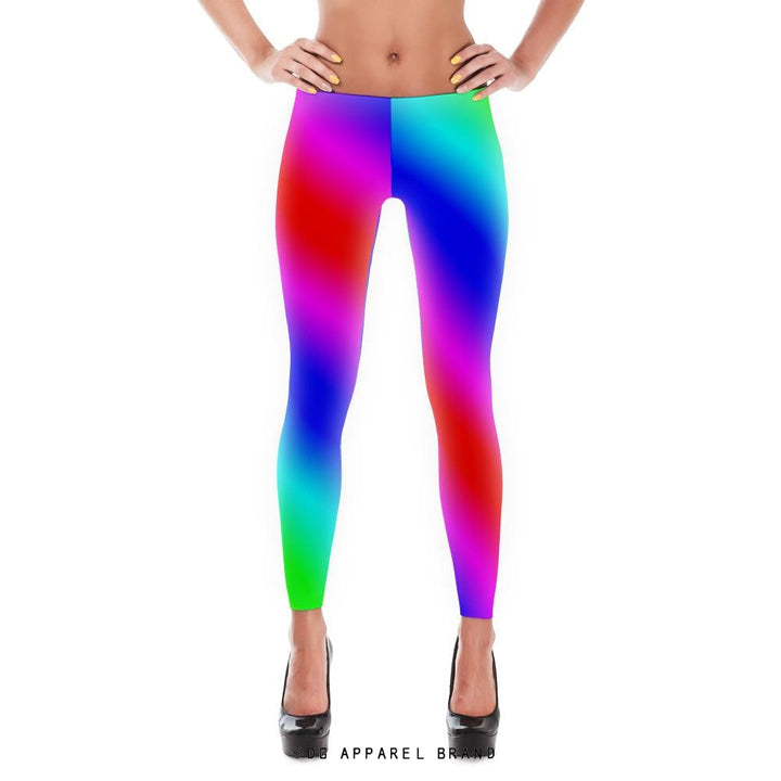 Big Stripe Rainbow Leggings -  leggings | DG Apparel Brand