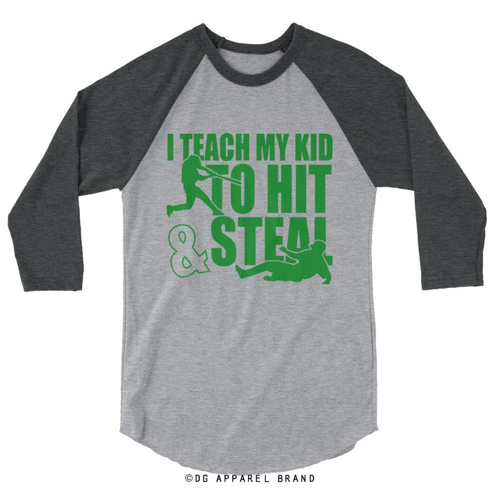 A Baseball Baseball Tee - Unisex 3/4 Sleeve in green print -   | DG Apparel Brand